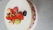 biscuit aux amandes, crème légère mousseline, fraises